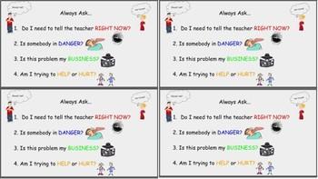 Behavior Cue Cards Tattling Questions