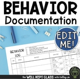 Behavior Documentation Log and Student Reflection Sheet (EDITABLE)