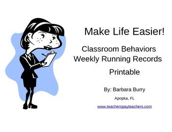 Behavior Documentation Easy Running Records Printable