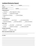 Behavior Documentation Form