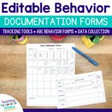 Behavior Documentation Forms with Editable Templates
