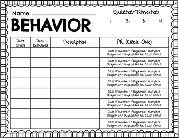 Behavior Documentation and Parent Notification Forms (English and Spanish)