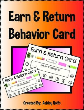 FREE Behavior Earn & Return Card