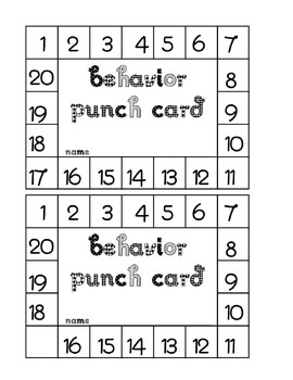 Behavior Earning Punch Cards