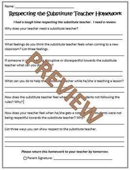 Behavior Expectations Homework Sheets