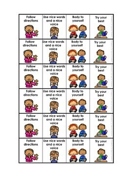 Behavior Expectations Strips - Visuals for Supporting Behavior