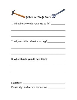 Behavior Fix-It Form: Behavior Management Form