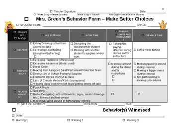 Behavior Form Matrix - Make Better Choices