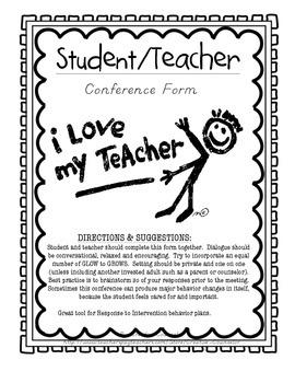 Behavior Form: Student & Teacher Conference Sheet (RtI)