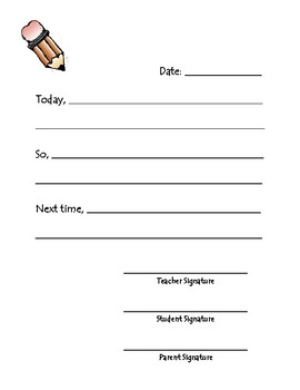 Behavior Form - Think Sheet