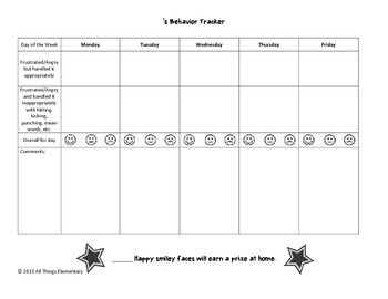 Behavior Goal Contract with Weekly and Daily Smiley Rating Scale Tracker