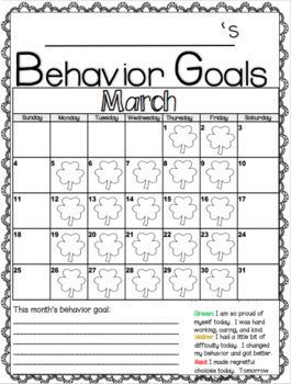 Behavior Goals Calendar 2017-2018 August-June