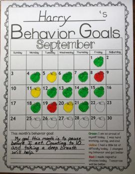 Behavior Goals Calendar 2018-2019 August-June