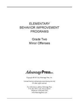 Behavior Improvement Packet - Minor Rule Violations 2nd Grade