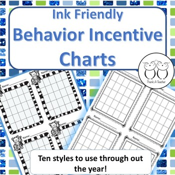 Behavior Incentive Charts 10 Ink Friendly Styles Use with
