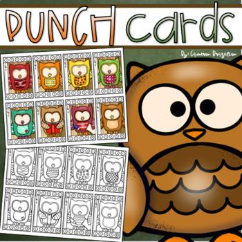 Behavior Incentive Punch Cards Classroom Management Rewards Owl Theme