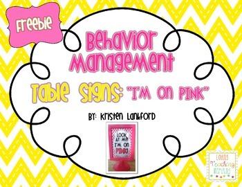 Behavior Incentive Table Sign: I'm on Pink!