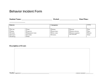 Behavior Incident Form for Individual Student
