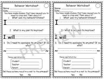 Behavior Incident Forms
