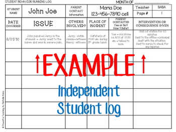 Behavior Incident Log and Weekly Conduct Folder - SPANISH Included