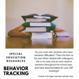 Behavior Input form for Special Education Students