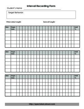Behavior Interval Recording Chart