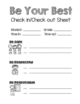 Behavior Intervention: Check-In, Check-Out Sheet