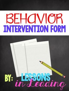 Behavior Intervention Form