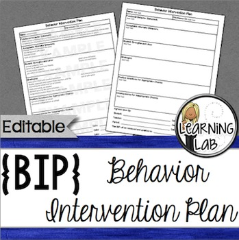 Behavior Intervention Plan By Learning Lab  Teachers Pay Teachers