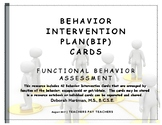 Behavior Intervention Plan (BIP) Cards - Functional Behavior Assessment FBA