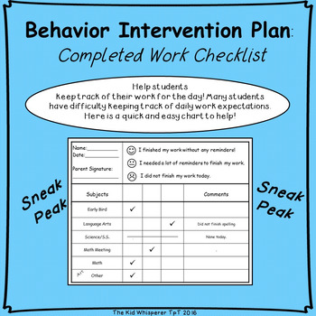 Completed Work Checklist