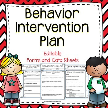 Behavior Intervention Plan Editable Forms and Data Sheets