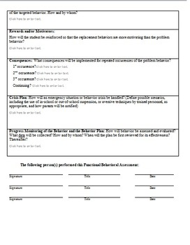 Behavior Intervention Plan Report Fill-In Form