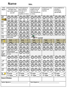 Behavior Intervention Plan Smiley daily tracking sheet*EDITABLE WORD DOC.**
