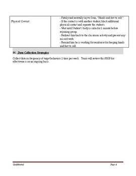 Speech Therapy-Special Education-Social Work-Behavior Intervention Plan Template