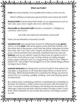 Behavior -- Learned or Inherited? Assessment and Task Cards