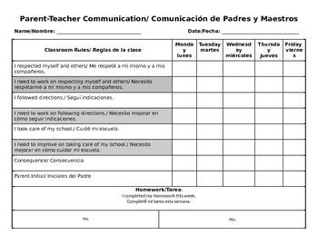 Bilingual Behavior Log