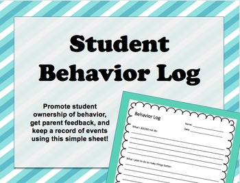 Classroom Management - Behavior Log