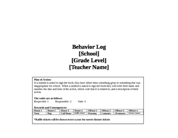 Behavior Log Book: Part Two of the Behavior Calendars (for purchase)