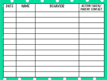 Behavior/Discipline Log - Digital