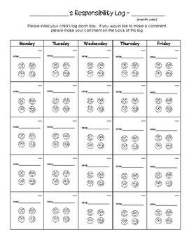 Behavior Log (Monthly)