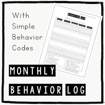 Behavior Chart - Monthly Behavior Log