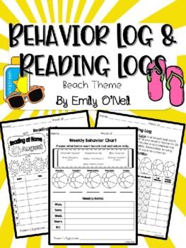 Behavior Log & Reading Logs (Beach Theme)
