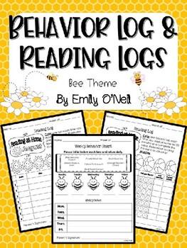 Behavior Log & Reading Logs (Bee Theme)