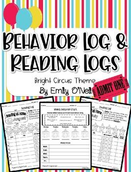 Behavior Log & Reading Logs (Bright Circus Theme)