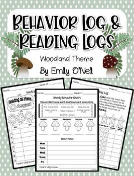 Behavior Log & Reading Logs (Woodland Theme)