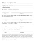 Behavior Log Sheet