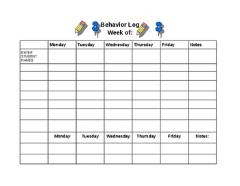 Behavior Log Template/ Demerit Chart