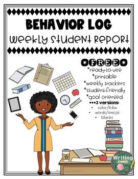 Behavior Log: Weekly Student Report