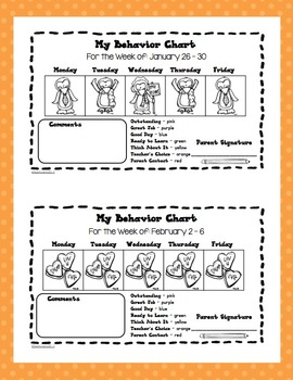 Behavior Log and Clip Chart -  Owl or Polka Dot